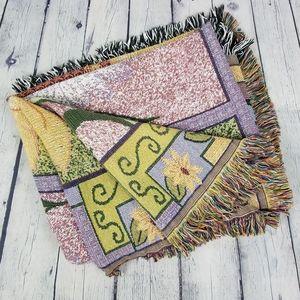 Knit floral flower fringe throw blanket